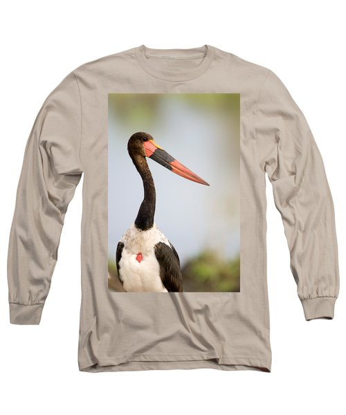 Close-up Of A Saddle Billed Stork Long Sleeve T-Shirt by Panoramic Images