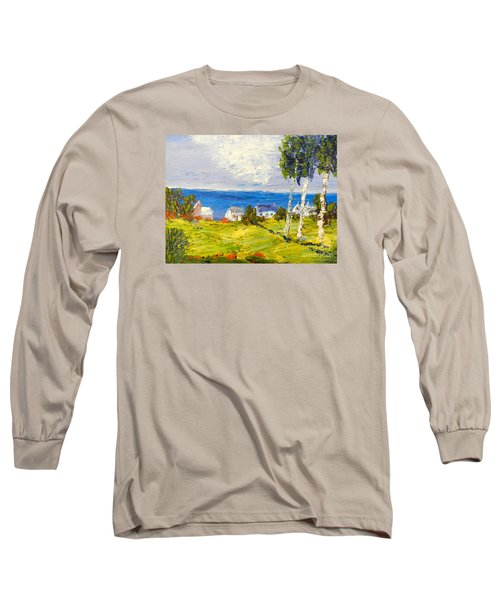 Long Sleeve T-Shirt featuring the painting Coastal Fishing Village by Pamela  Meredith