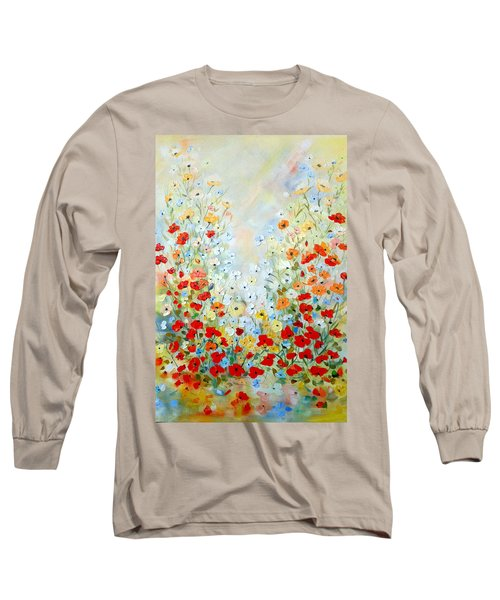 Long Sleeve T-Shirt featuring the painting Colorful Field Of Poppies by Dorothy Maier
