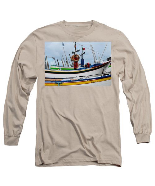 colorful fishing boat with Portuguese flag  Long Sleeve T-Shirt