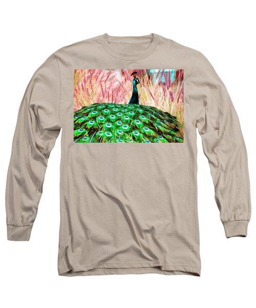 Long Sleeve T-Shirt featuring the photograph Colorful Peacock by Matt Harang