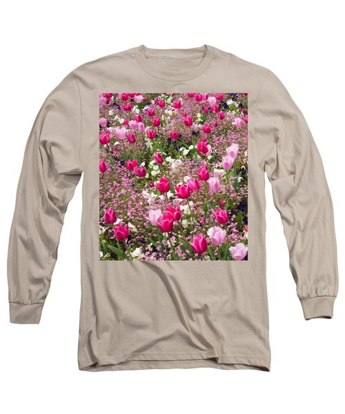 Colorful Pink Tulips And Other Flowers In Spring Long Sleeve T-Shirt