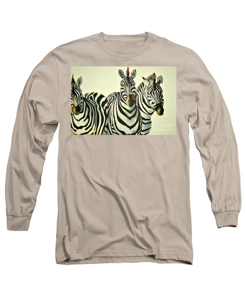 Long Sleeve T-Shirt featuring the painting Colorful Zebras Painting by Maja Sokolowska
