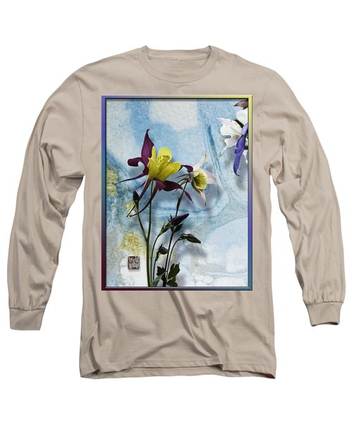 Columbine Blossom With Suminagashi Ink Long Sleeve T-Shirt