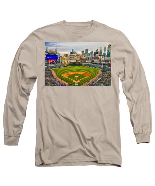 Long Sleeve T-Shirt featuring the photograph Comerica Park Detroit Mi With The Tigers by Nicholas  Grunas