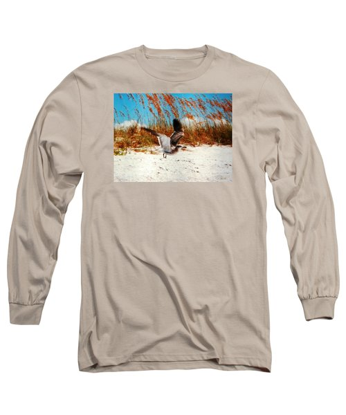 Long Sleeve T-Shirt featuring the photograph Windy Seagull Landing by Belinda Lee