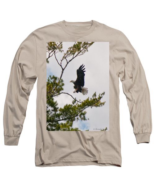 Long Sleeve T-Shirt featuring the photograph Coming In For A Landing by Brenda Jacobs