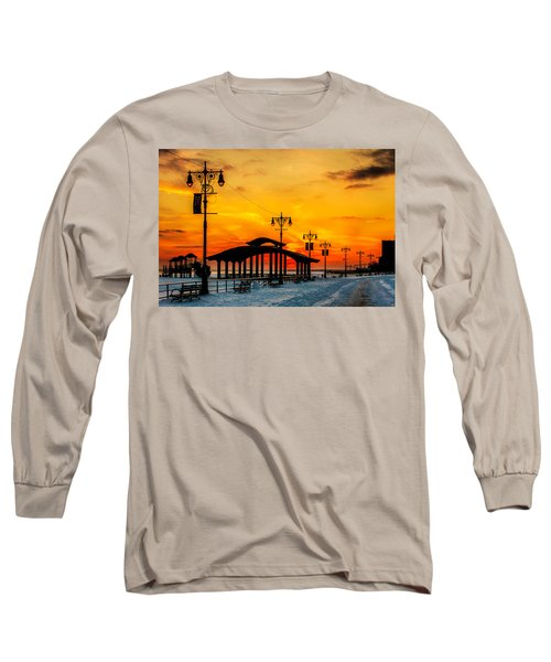 Coney Island Winter Sunset Long Sleeve T-Shirt by Chris Lord