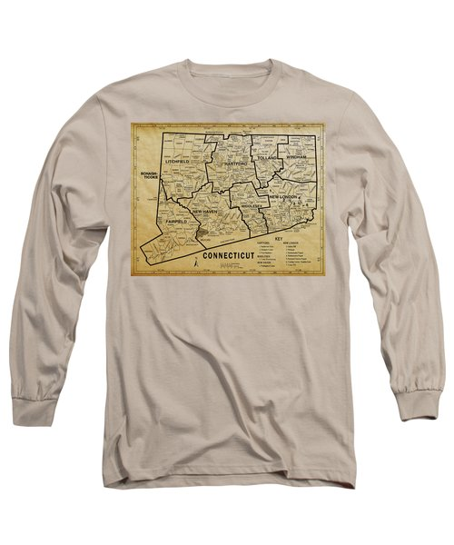 Connecticut On Aged Parchment Map Long Sleeve T-Shirt