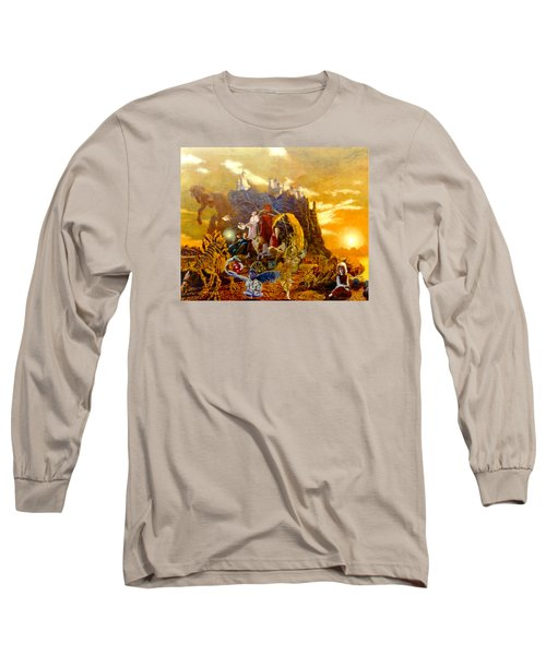Long Sleeve T-Shirt featuring the painting Constructors Of Time by Henryk Gorecki