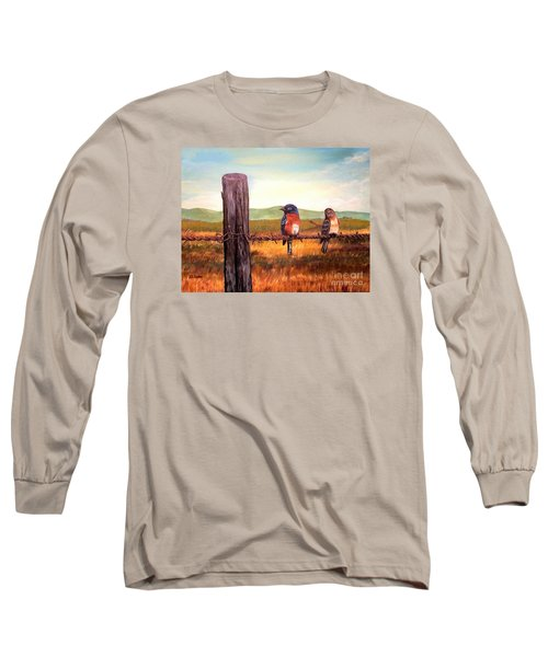 Conversation With A Fencepost Long Sleeve T-Shirt by Kimberlee Baxter