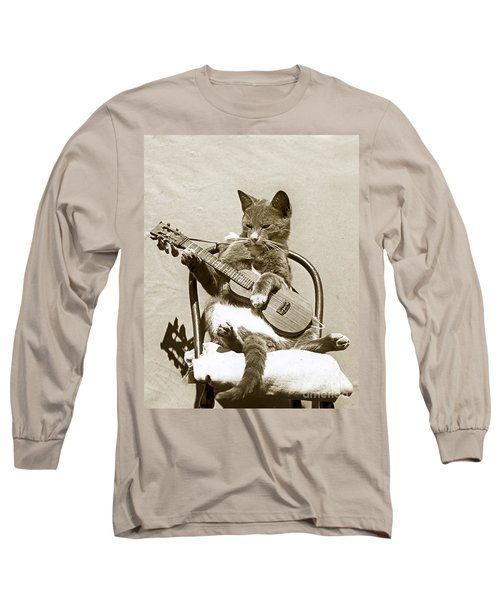 Long Sleeve T-Shirt featuring the photograph Cool Cat Playing A Guitar Circa 1900 Historical Photo By Photo  Henry King Nourse by California Views Mr Pat Hathaway Archives