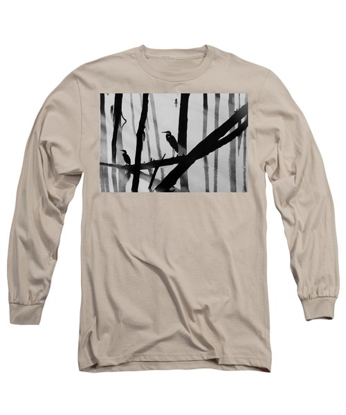 Cormorant And The Heron  Bw Long Sleeve T-Shirt by Roger Becker