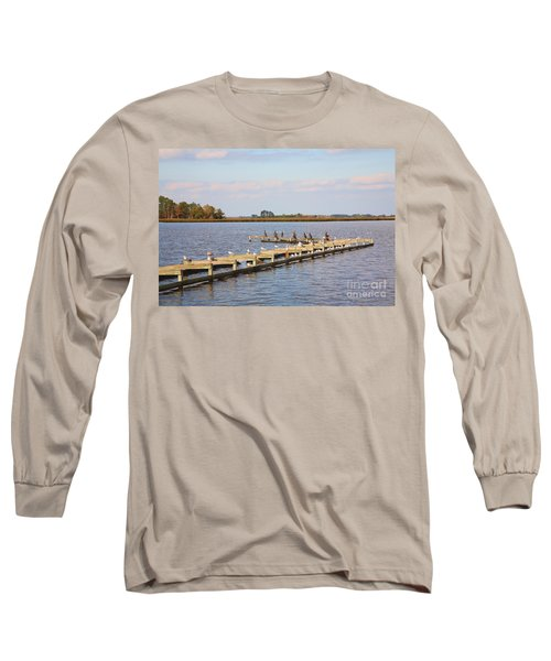 Cormorants And Seagulls On Old Dock Near Blackwater  National Wildlife Refuge Near Cambridge Md Long Sleeve T-Shirt