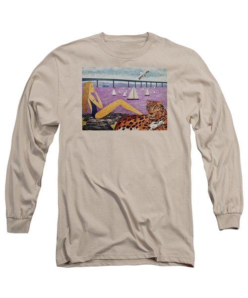 Long Sleeve T-Shirt featuring the painting Coronado Bridge   San Diego by Jasna Gopic