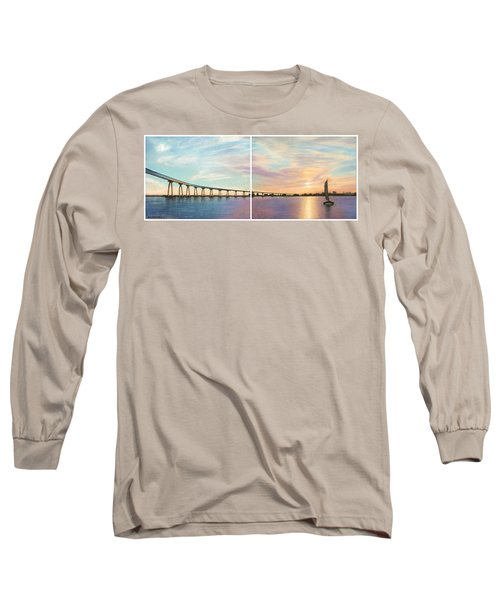 Coronado Bridge Sunset Diptych Long Sleeve T-Shirt