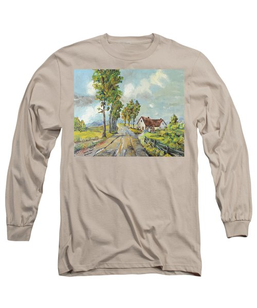 Cottage On Poplar Lane Long Sleeve T-Shirt by Mary Ellen Anderson