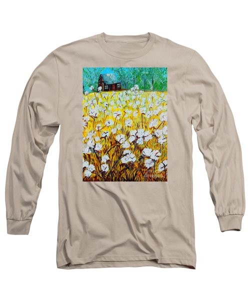 Cotton Fields Back Home Long Sleeve T-Shirt by Eloise Schneider
