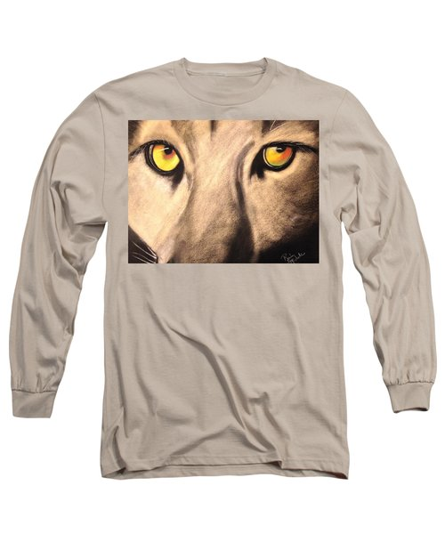 Cougar Eyes Long Sleeve T-Shirt by Renee Michelle Wenker
