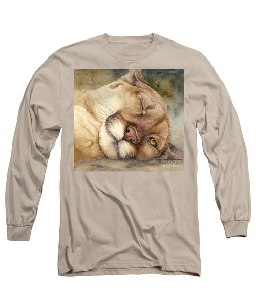 Long Sleeve T-Shirt featuring the painting Cougar    I See You     by Bonnie Rinier
