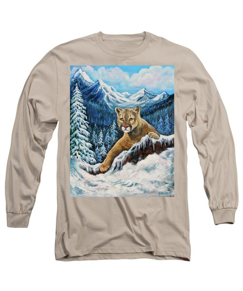 Long Sleeve T-Shirt featuring the painting Cougar Sedona Red Rocks  by Bob and Nadine Johnston