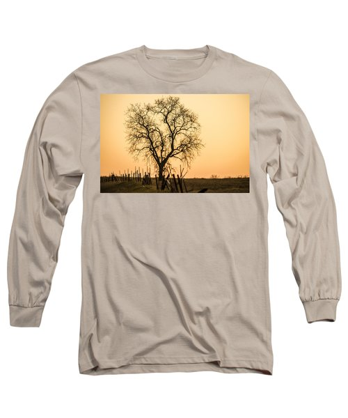 Country Fence Sunset Long Sleeve T-Shirt