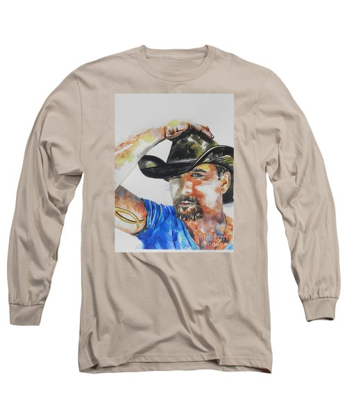 Country Singer Tim Mcgraw 02 Long Sleeve T-Shirt by Chrisann Ellis