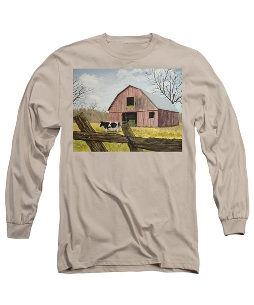Cow And Barn Long Sleeve T-Shirt by Norm Starks