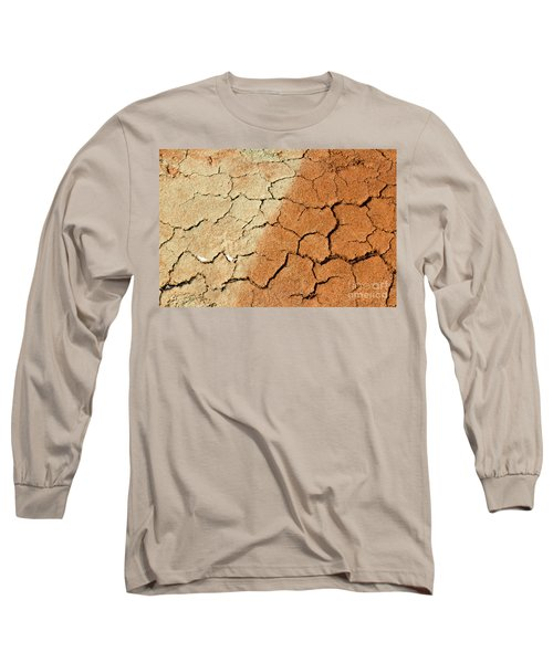Long Sleeve T-Shirt featuring the photograph Cracked Soil In Red Shades by Les Palenik