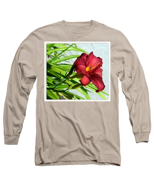 Cranberry Colored Lily Long Sleeve T-Shirt by Kay Novy