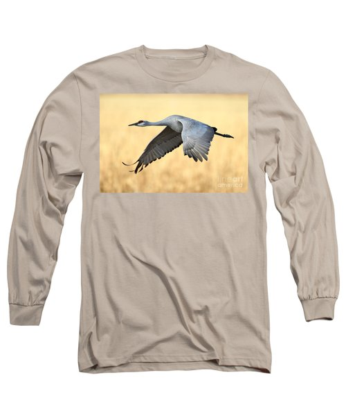 Crane Over Golden Field Long Sleeve T-Shirt