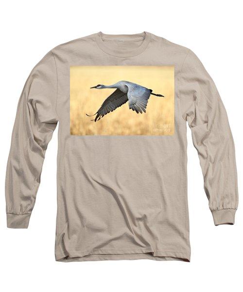 Crane Over Golden Field Long Sleeve T-Shirt by Bryan Keil