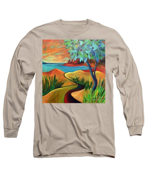 Long Sleeve T-Shirt featuring the painting Crimson Shore by Elizabeth Fontaine-Barr