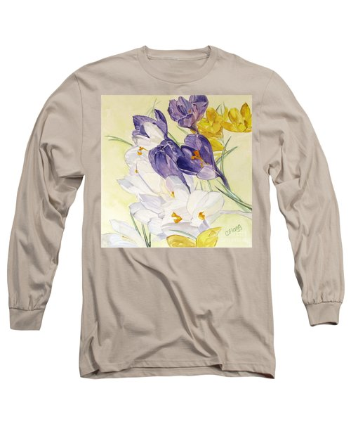 Long Sleeve T-Shirt featuring the painting Crocus by Carol Flagg