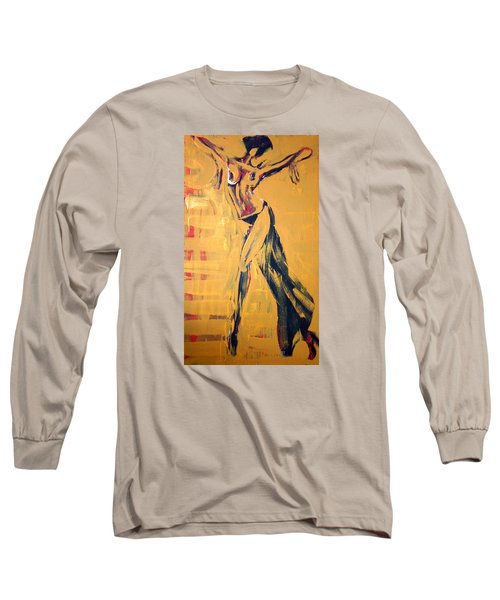 Long Sleeve T-Shirt featuring the painting Cuba Rhythm by Jarmo Korhonen aka Jarko