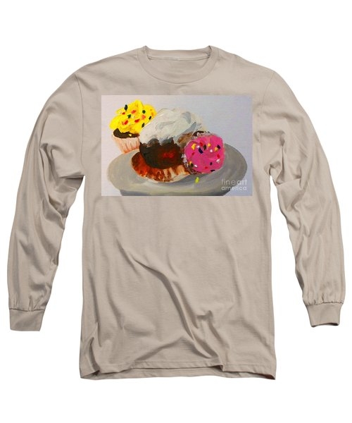 Long Sleeve T-Shirt featuring the painting Cupcakes by Marisela Mungia