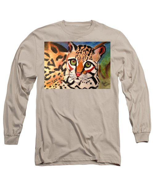 Curious Ocelot Long Sleeve T-Shirt by Renee Michelle Wenker