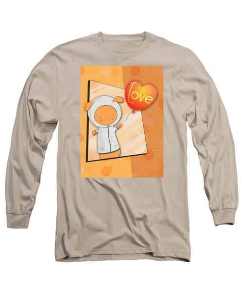 Cute Lots Of Love Love You Cute Character Holding A Love Balloons  Long Sleeve T-Shirt by Lenny Carter