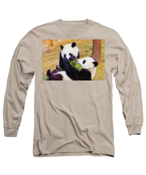 Long Sleeve T-Shirt featuring the painting Cute Pandas Play Together by Lanjee Chee