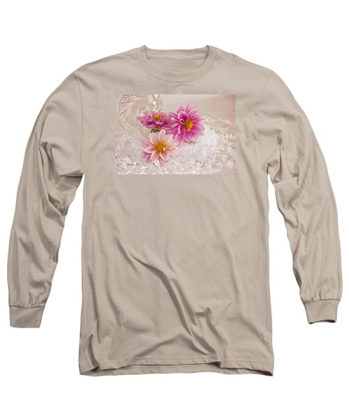 Dahlias And Lace Long Sleeve T-Shirt by Sandra Foster
