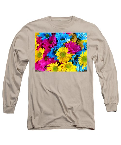 Long Sleeve T-Shirt featuring the photograph Daisys Flowers Bloom Colorful Petals Nature by Paul Fearn