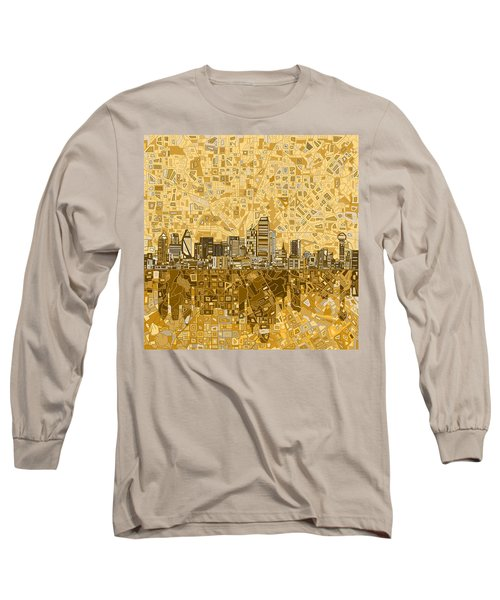 Dallas Skyline Abstract 6 Long Sleeve T-Shirt by Bekim Art