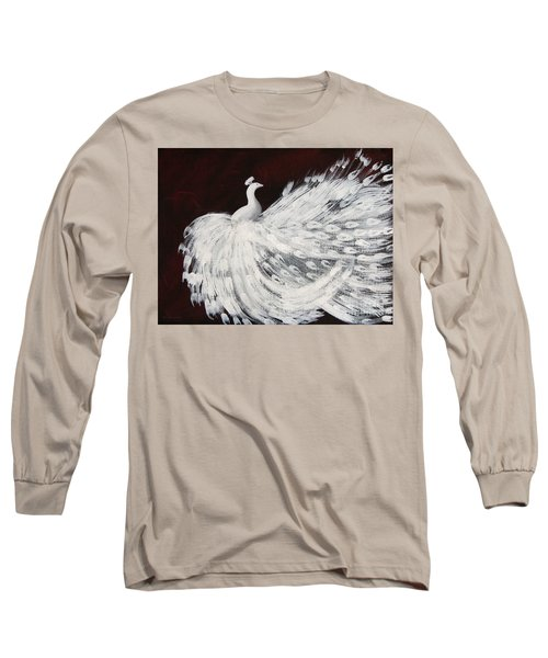 Dancing Peacock Burgundy Long Sleeve T-Shirt