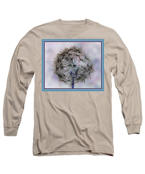 Long Sleeve T-Shirt featuring the photograph Dandelion Blue And Purple by Kathy Barney