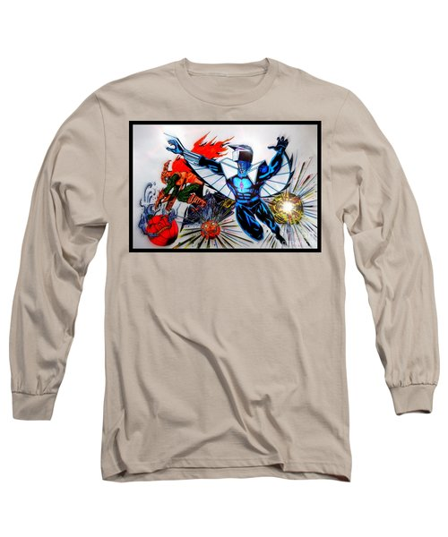 Darkhawk Vs Hobgoblin Focused Long Sleeve T-Shirt by Justin Moore