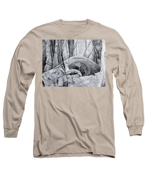 Long Sleeve T-Shirt featuring the drawing Das Monster Hat Sich Im Ungebuegelten Hintergrund Versteckt by Otto Rapp