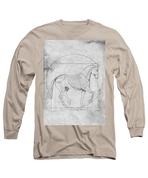 Da Vinci Horse Piaffe Grayscale Long Sleeve T-Shirt by Catherine Twomey