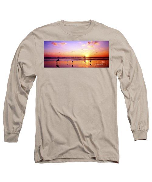 Long Sleeve T-Shirt featuring the photograph Daytona Beach Fl Surf Fishing And Birds by Tom Jelen