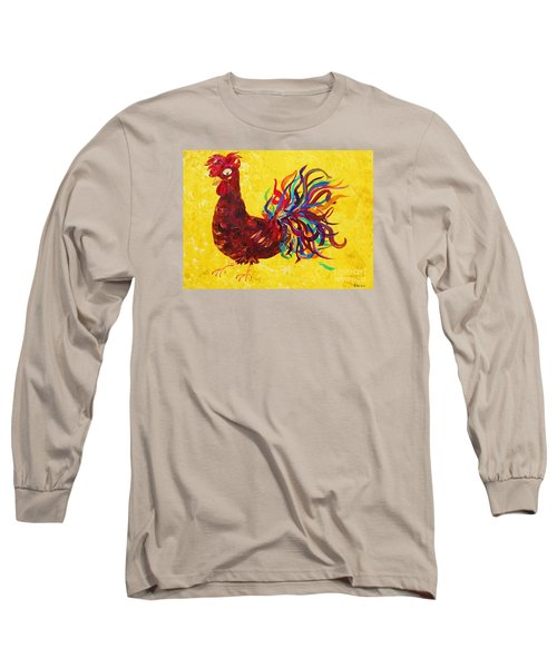 Long Sleeve T-Shirt featuring the painting De Colores Rooster by Eloise Schneider