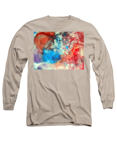 Long Sleeve T-Shirt featuring the painting Decalcomaniac Colorfield Abstraction Without Number by Otto Rapp